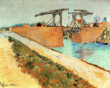 """Картина """"the langlois bridge at arles with road alongside the canal"""" художника """"ван гог винсент"""""""