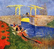 """Картина """"The Langlois Bridge at Arles with Women Washing"""" художника """"Ван Гог Винсент"""""""
