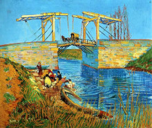 "Репродукция картины ""The Langlois Bridge at Arles with Women Washing"" художника ""Ван Гог Винсент"""