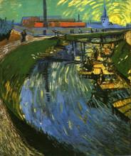 """Копия картины """"the roubine du roi canal with washerwomen"""" художника """"ван гог винсент"""""""