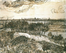"Репродукция картины ""View of Arles from a Hill"" художника ""Ван Гог Винсент"""