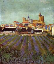 """Репродукция картины """"View of Saintes-Maries"""" художника """"Ван Гог Винсент"""""""