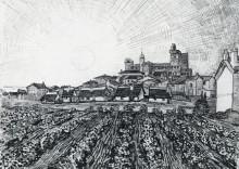"""Копия картины """"view of saintes-maries with church and ramparts"""" художника """"ван гог винсент"""""""