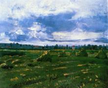 """Копия картины """"wheat fields with stacks"""" художника """"ван гог винсент"""""""