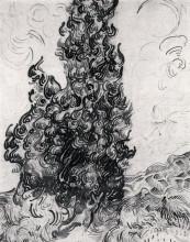 """Копия картины """"cypresses"""" художника """"ван гог винсент"""""""