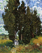 "Картина ""cypresses with two women"" художника ""ван гог винсент"""