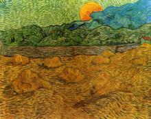 """Репродукция картины """"Evening Landscape with Rising Moon"""" художника """"Ван Гог Винсент"""""""