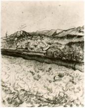 "Репродукция картины ""Mountain Landscape Seen across the Walls 2"" художника ""Ван Гог Винсент"""