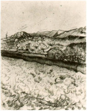 "Картина ""mountain landscape seen across the walls 2"" художника ""ван гог винсент"""