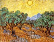 "Репродукция картины ""olive trees with yellow sky and sun"" художника ""ван гог винсент"""