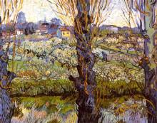 "Репродукция картины ""orchard in bloom with poplars"" художника ""ван гог винсент"""