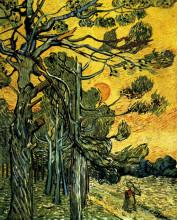 """Картина """"pine trees against a red sky with setting sun"""" художника """"ван гог винсент"""""""