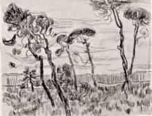 "Репродукция картины ""Pine Trees in Front of the Wall of the Asylum"" художника ""Ван Гог Винсент"""