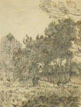 "Репродукция картины ""pine trees near the wall of the asylum"" художника ""ван гог винсент"""