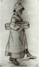 "Копия картины ""girl carrying a loaf of bread"" художника ""ван гог винсент"""