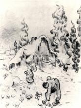 """Картина """"snowy landscape with stooping woman"""" художника """"ван гог винсент"""""""