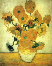 "Картина ""still life - vase with fourteen sunflowers"" художника ""ван гог винсент"""
