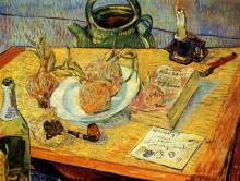 """Картина """"still life with drawing board, pipe, onions and sealing-wax"""" художника """"ван гог винсент"""""""