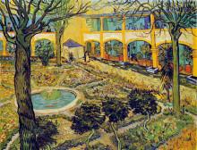 """Картина """"the courtyard of the hospital in arles"""" художника """"ван гог винсент"""""""