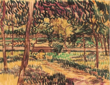 """Репродукция картины """"Trees in the Garden of the Asylum"""" художника """"Ван Гог Винсент"""""""