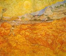 "Копия картины ""wheat field behind saint paul hospital with a reaper"" художника ""ван гог винсент"""