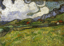 "Копия картины ""wheat field behind saint-paul hospital with a reaper"" художника ""ван гог винсент"""