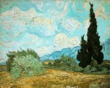 """Картина """"wheat field with cypresses"""" художника """"ван гог винсент"""""""