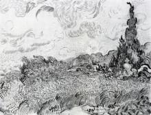 "Копия картины ""Wheat Field with Cypresses at the Haude Galline near Eygalieres"" художника ""Ван Гог Винсент"""