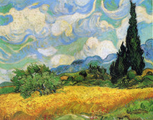 "Копия картины ""wheat field with cypresses at the haude galline near eygalieres"" художника ""ван гог винсент"""