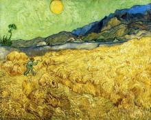 "Репродукция картины ""wheat field with reaper and sun"" художника ""ван гог винсент"""