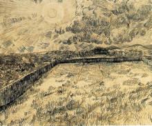 """Репродукция картины """"wheat field with sun and cloud"""" художника """"ван гог винсент"""""""
