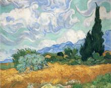 """Картина """"wheatfield with cypress tree"""" художника """"ван гог винсент"""""""