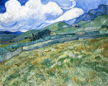 """Репродукция картины """"wheatfield with mountains in the background"""" художника """"ван гог винсент"""""""