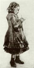 """Картина """"girl standing, knitting"""" художника """"ван гог винсент"""""""