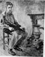 "Копия картины ""man sitting by the stove the pauper"" художника ""ван гог винсент"""