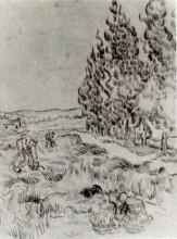 """Копия картины """"Cypresses with Four People Working in the Field"""" художника """"Ван Гог Винсент"""""""