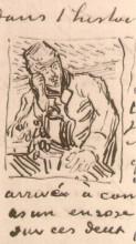 "Копия картины ""doctor gachet sitting at a table with books and a glass with sprigs of foxglove"" художника ""ван гог винсент"""