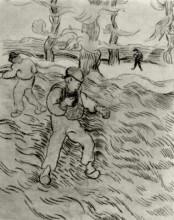"""Репродукция картины """"Field with Two Sowers and Trees"""" художника """"Ван Гог Винсент"""""""