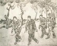 "Картина ""four men on a road with pine trees"" художника ""ван гог винсент"""