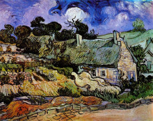 "Копия картины ""Houses with Thatched Roofs, Cordeville"" художника ""Ван Гог Винсент"""