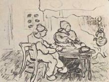 """Репродукция картины """"Interior of a Farm with Two Figures"""" художника """"Ван Гог Винсент"""""""