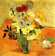 """Картина """"japanese vase with roses and anemones"""" художника """"ван гог винсент"""""""