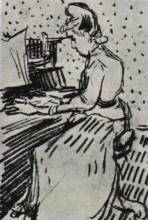 "Репродукция картины ""mademoiselle gachet at the piano"" художника ""ван гог винсент"""