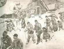 "Репродукция картины ""people walking in front of snow-covered cottage"" художника ""ван гог винсент"""