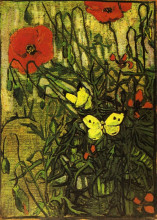 "Репродукция картины ""Poppies and Butterflies"" художника ""Ван Гог Винсент"""