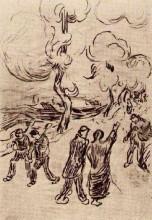 "Картина ""several figures on a road with trees"" художника ""ван гог винсент"""
