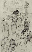 "Копия картины ""sheet with many sketches of figures"" художника ""ван гог винсент"""