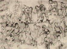 "Копия картины ""sheet with numerous figure sketches"" художника ""ван гог винсент"""