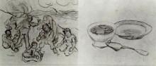 """Репродукция картины """"sheet with sketches of figures"""" художника """"ван гог винсент"""""""