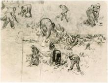 """Копия картины """"sheet with sketches of working people"""" художника """"ван гог винсент"""""""